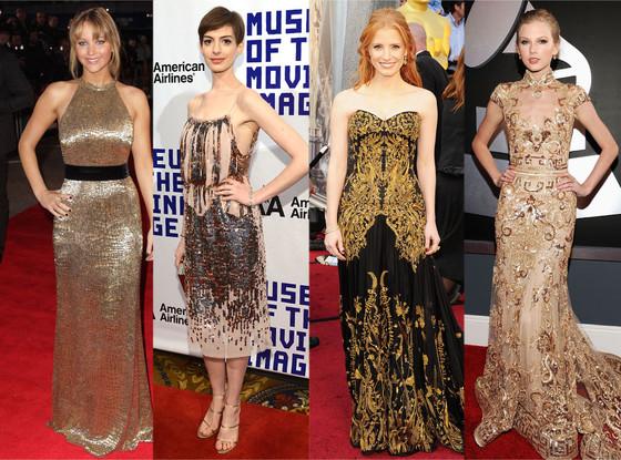 Jennifer Lawrence, Anne Hathaway, Jessica Chastain, Taylor Swift