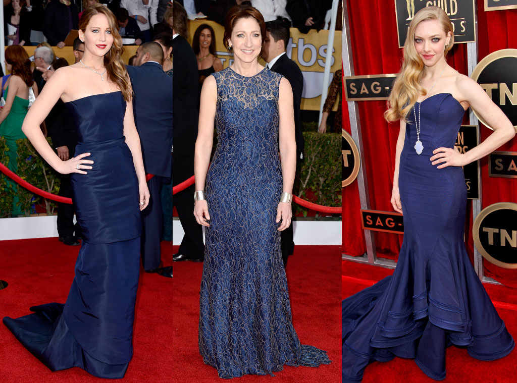 SAG Blue Dress Trend, Jennifer Lawrence, Amanda Seyfried, Edie Falco