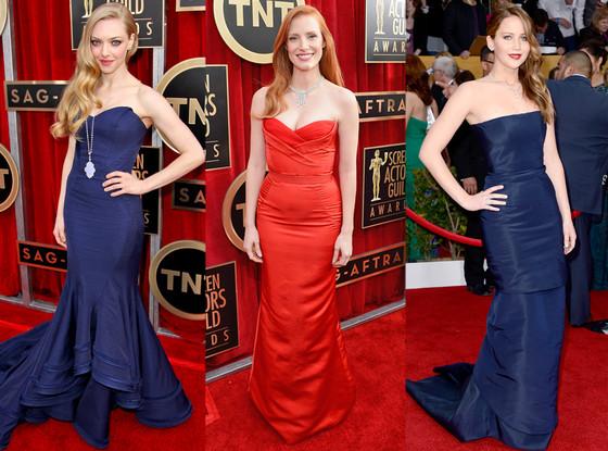 Amanda Seyfried, Jessica Chastain, Jennifer Lawrence, SAG Arrivals