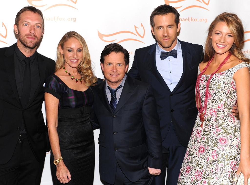 Chris Martin, Tracy Pollan, Michael J. Fox, Ryan Reynolds and Blake Lively