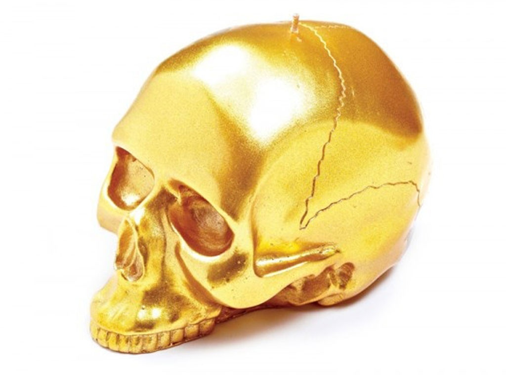 Nicole Richie Pinterest Gift Guide, D.L. & Co. Gold Skull Candle