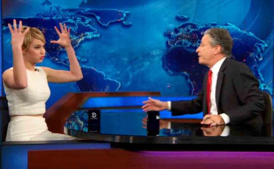 Jennifer Lawrence, Jon Stewart, The Daily Show, NYC