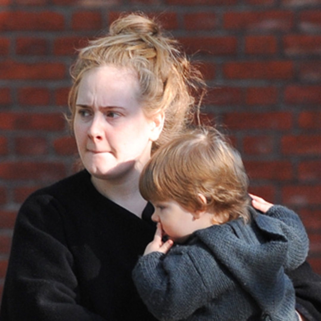 Makeup Free Adele Gives Rare Glimpse Of Son Angelo E Online