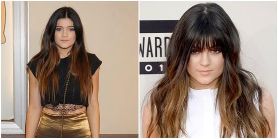 Kylie Jenner, Kylie Jenner franja, Kylie Jenner antes e depois