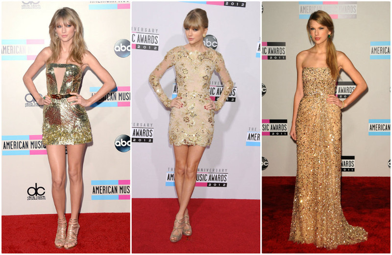 Taylor Swift looks American Music Awards vestido dourado