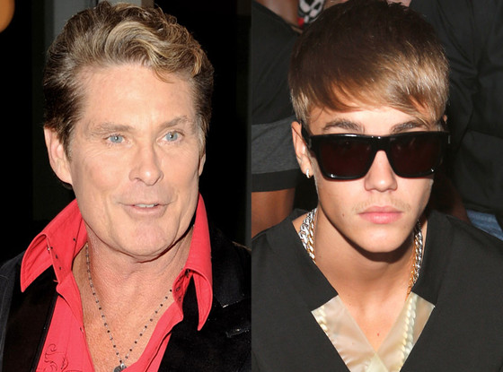 Bieber Advises The Hoff You Cant Dwell On Cheesy Bs  E -5809