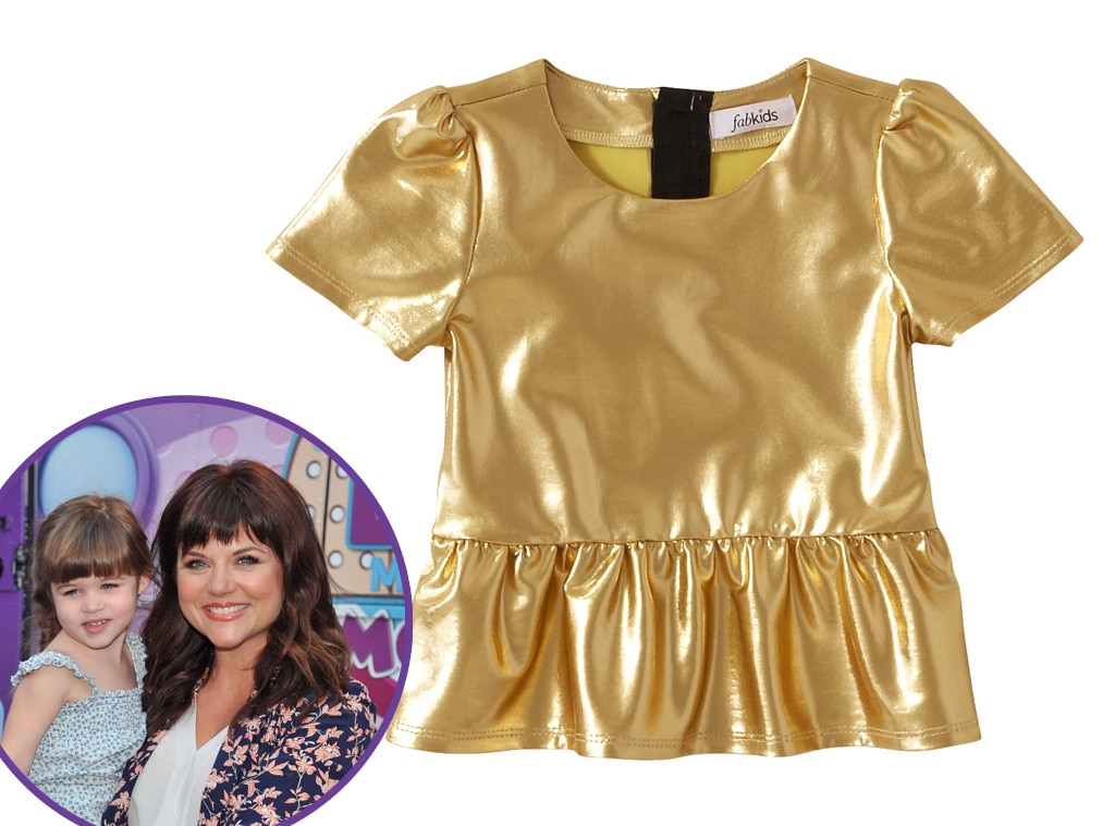 Harper Smith, FabKids Gold Lame Peplum Top, Star-Wothy Kids Gifts
