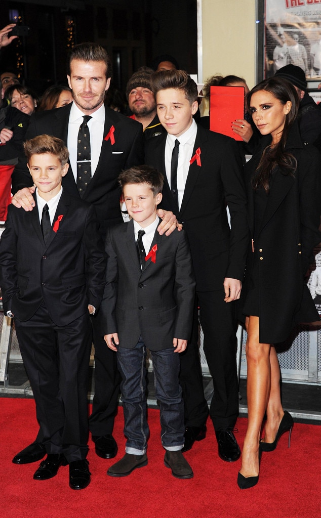 Romeo Beckham, David Beckham, Cruz Beckham, Brooklyn Beckham and Victoria Beckham
