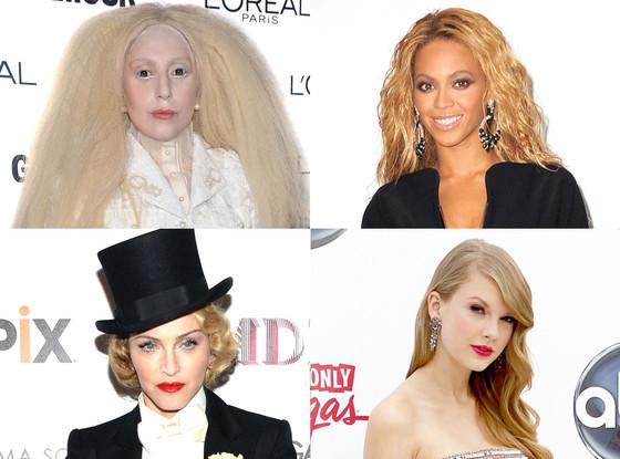 Madonna, Lady Gaga, Taylor Swift, Beyonce