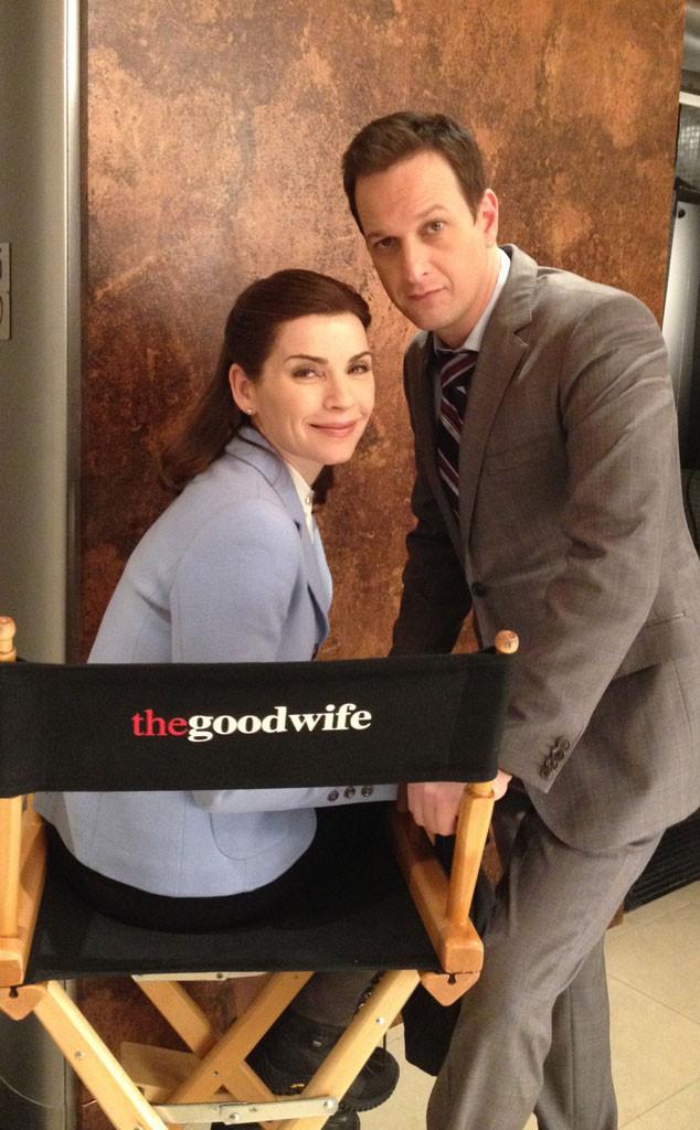 Julianna Margulies, Josh Charles, The Good Wife set