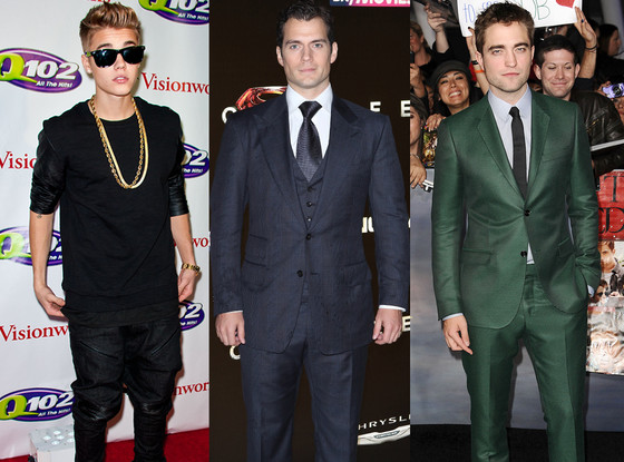 Justin Bieber, Henry Cavill, Robert Pattinson