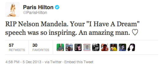 Paris Hilton sobre Nelson Mandela
