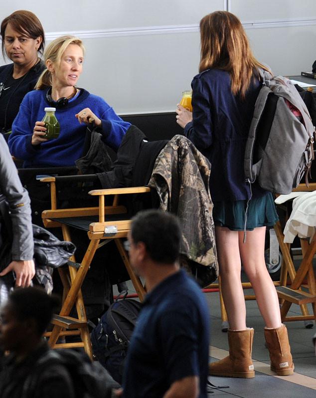 Dakota Johnson, Sam Taylor-Johnson, 50 Shades of Grey Set
