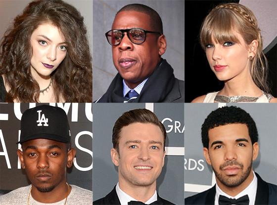 Jay-Z, Lorde, Drake, Kendrick Lamar, Taylor Swift, Justin Timberlake