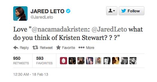 Jared Leto, Kristen Stewart
