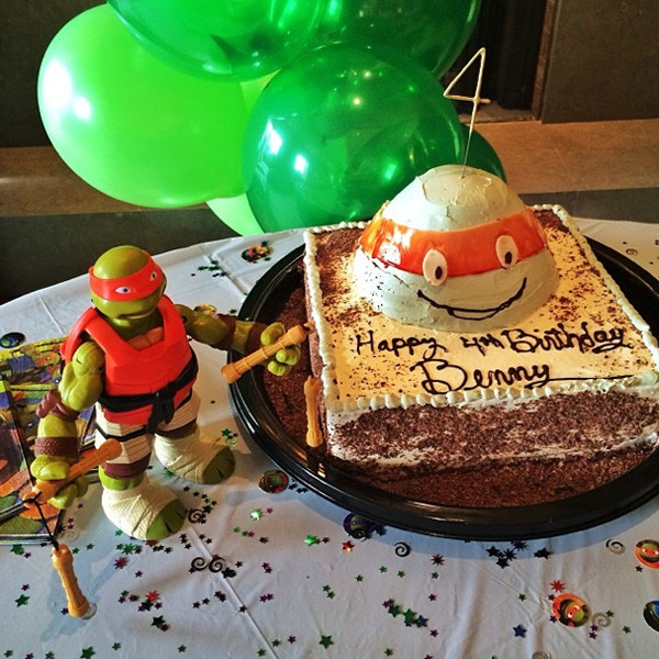 Magnificent Gisele Celebrates Sons 4Th Birthday With Mutant Ninja Turtles Personalised Birthday Cards Cominlily Jamesorg
