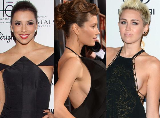 Eva Longoria, Jessica Biel, Miley Cyrus, Side boob