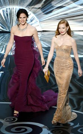 2013 Oscars Show, Jennifer Garner, Jessica Chastain