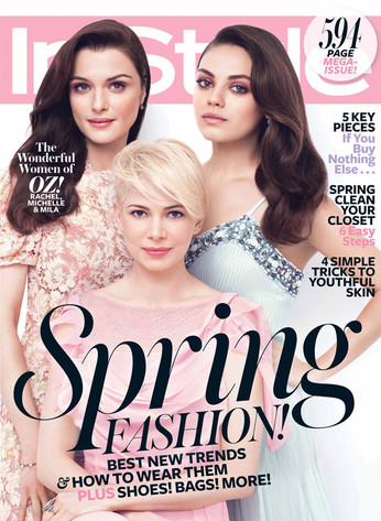 InStyle, Rachel Weisz, Michelle Williams, Mila Kunis, March Cover