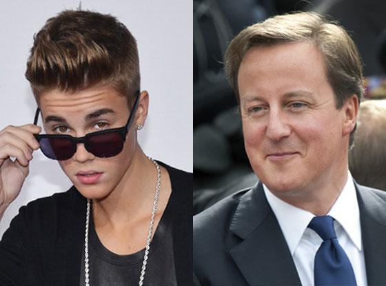 Justin Bieber, PM David Cameron