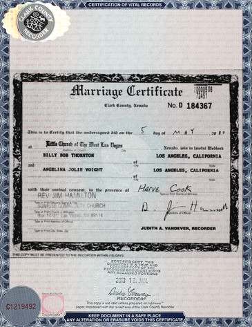 Marriage Certificate, Angelina Jolie, Billy Bob Thornton