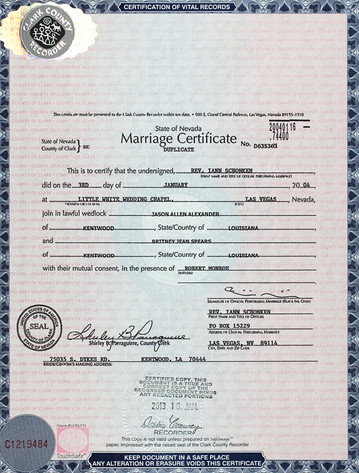 Marriage Certificate, Britney Spears