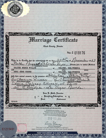 Marriage Certificate, Bruce Willis, Demi Moore