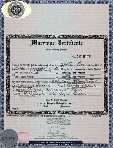Marriage Certificate, Bruce Willis, Demi Moore