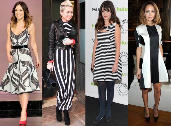 Olivia Wilde, Miley Cyrus, Zooey Deschanel, Nicole Richie, Black and White