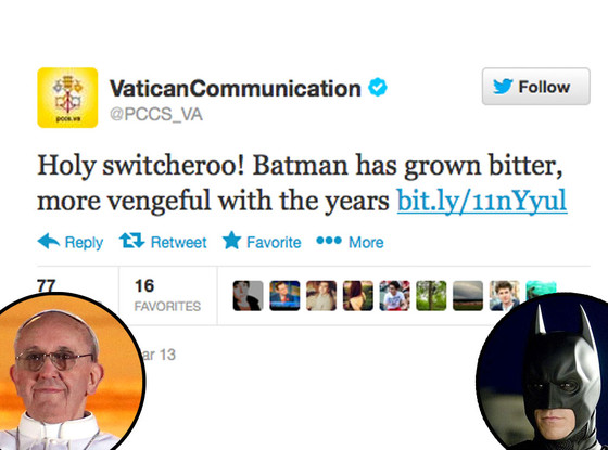 Vatican Tweet, Christian Bale, Batman, Pope Francis