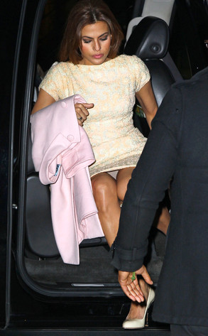 Yikes Eva Mendes Flashes Undies While Getting Out Of Car