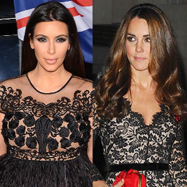 Kim Kardashian, Duchess Catherine, Kate Middleton, Black Lace Party Dress
