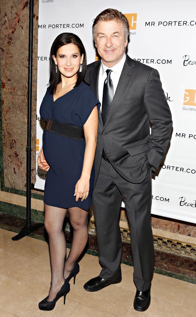 Alec Baldwin keeps his pregnant wife Hilaria close on the