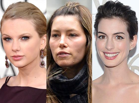 Jessica Biel, Anne Hathway, Taylor Swift, Pulled Back Bangs