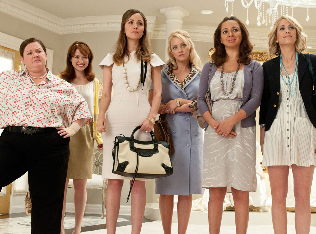 Bridesmaids  -  McCarthy, who earned an Academy Award nomination for her performance, plays Megan Price, the groom's raunchy sister in this R-rated comedy. It also stars  Rose Byrne ,  Ellie Kemper ,  Wendi McLendon-Covey ,  Maya Rudolph  and  Kristen Wiig .
