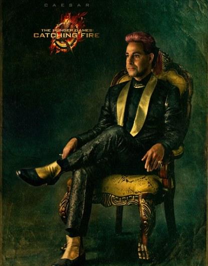 Em Chama, Katniss, Cinna, Haymitch, Caesar, poster Em Chamas