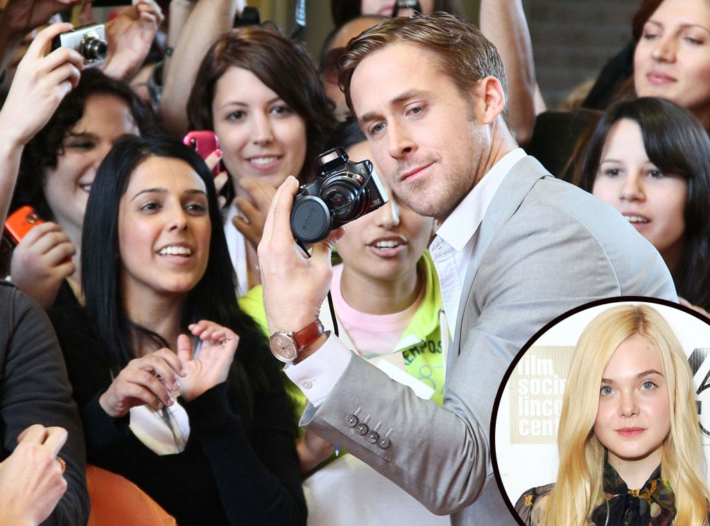 """Elle Fanning -  """"Ryan Gosling! I love Ryan Gosling! I remember meeting him for the first time at the Governors Ball and I freaked out . And he stares into your soul. And he's really tall!"""" the younger Fanning sister gushed to  W."""