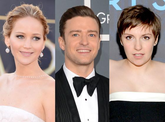 Jennifer Lawrence, Justin Timberlake, Lena Dunham