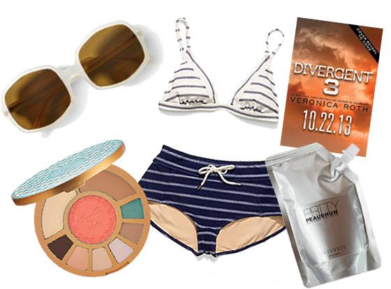5 Things, Coach St. James Bikini, Club Monaco sunglasses, Tarte Aqualillies Palette, Divergent, Lotion