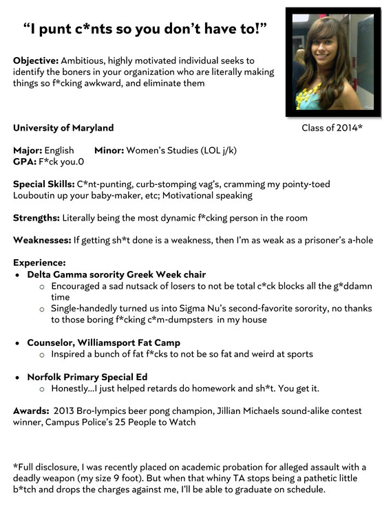 Sorority Girl Resume