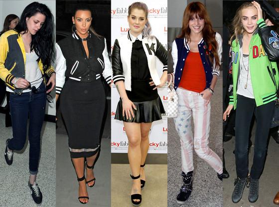 Kristen Stewart, Kim Kardashian, Kelly Osbourne, Bella Thorne, Cara Delevingne, Varsity Jackets