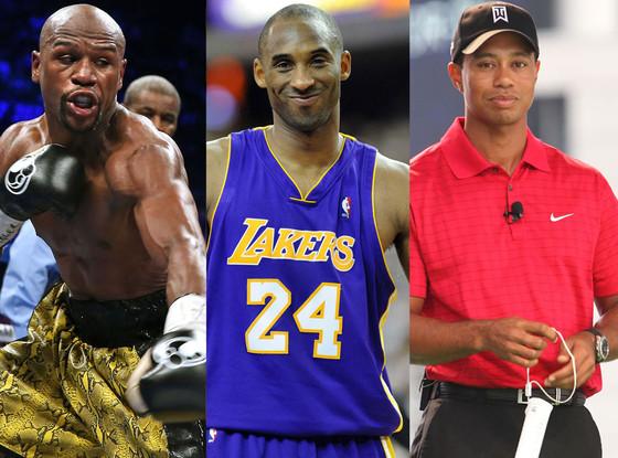 Floyd Mayweather Jr, Tiger Woods, Kobe Bryant