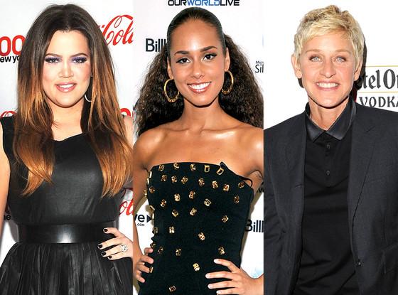 Ellen DeGeneres, Khloe Kardashian, Alicia Keys