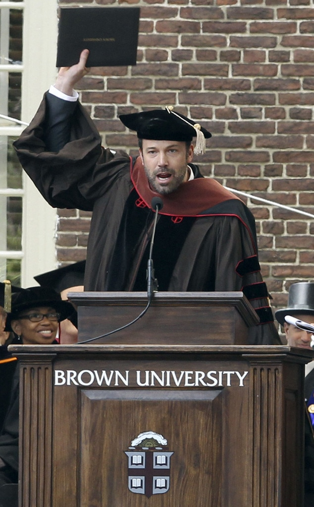 Ben Affleck - Superman  must have been feeling invincible, accepting an honorary agree from Brown University.