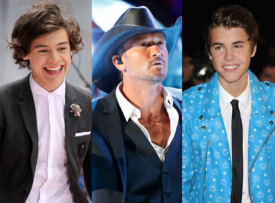 Justin Bieber, Tim McGraw, Harry Styles