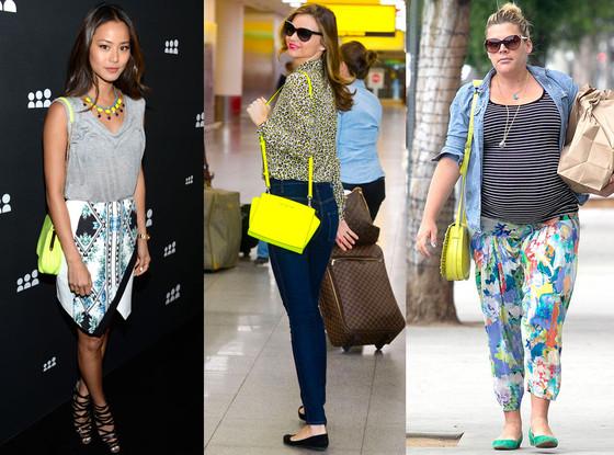 Neon Yellow Purse, Miranda Kerr, Busy Philipps, Jamie Chung