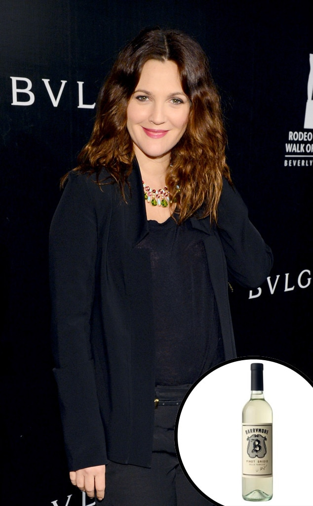 "Drew Barrymore -  The actress credits her ""travels throughout Italy"" as the inspiration for her Pinot Grigio, which she created ""in honor of her family."""