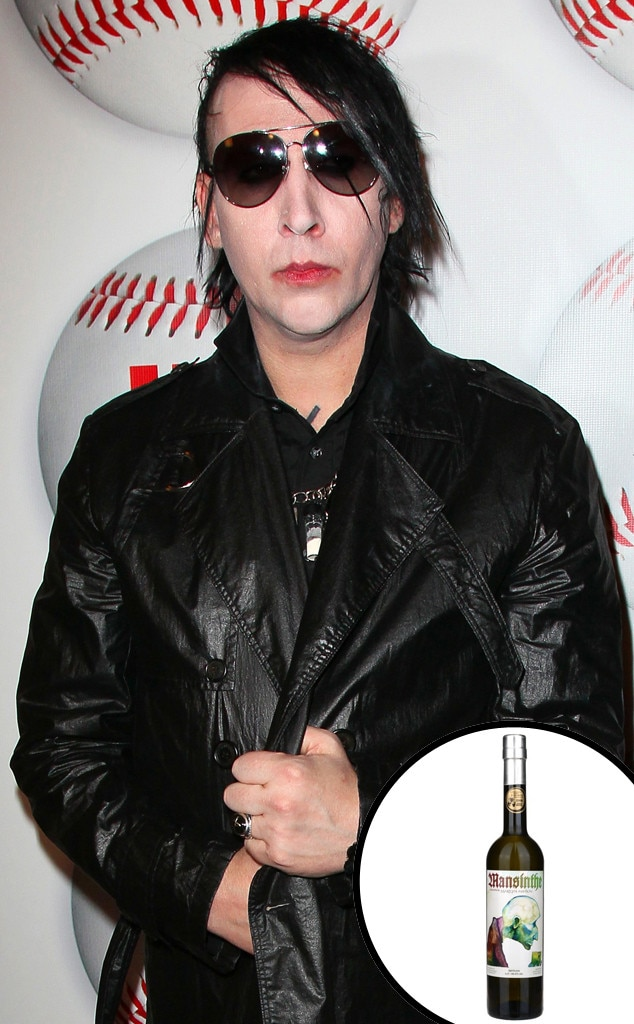 Marilyn Manson -  The goth rocker didn't just launch any alcohol—he developed his own absinthe. Absinthe Mansinthe is distilled from neutral grain alcohol and herbs.