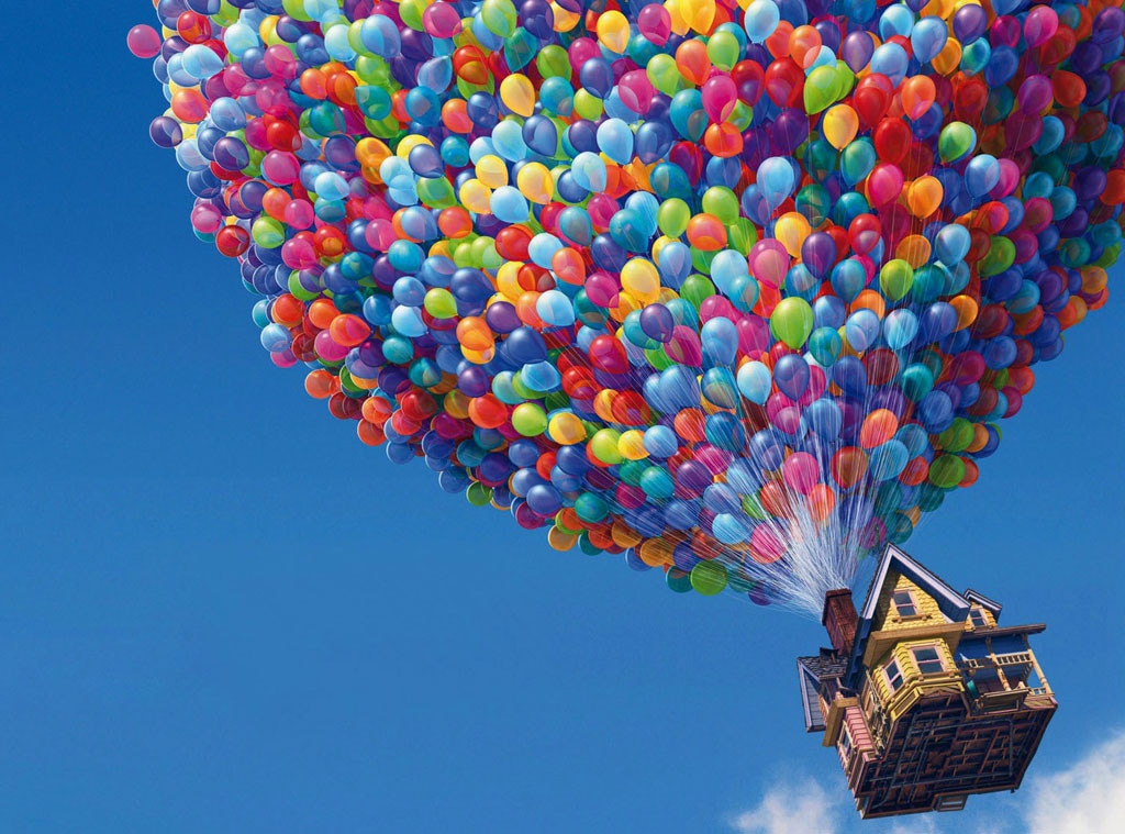 4. Up  (2009) -  Faced with eviction, widower Carl ( Ed Asner ) hoists his house with balloons and sets sail for South America—but with an unexpected stowaway, young wilderness explorer Russell ( Jordan Nagai ).