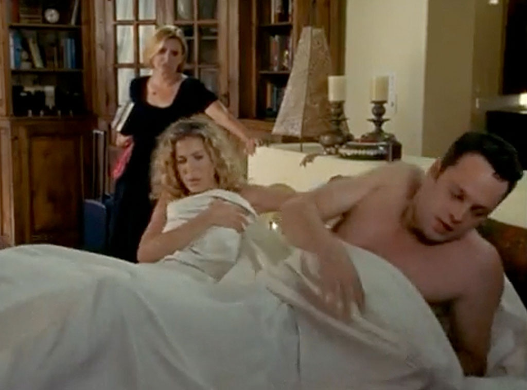 """Vince Vaughn & Carrie Fisher -  While vacationing in Los Angeles in """"Sex and Another City"""" (Season 3), Carrie is introduced to Keith Travers (Vaughn). He says he's Matt Damon's agent, but things go south when Carrie finds out she slept in the late great Carrie Fisher's home, and Keith was merely house sitting."""